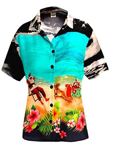 LA LEELA Relaxed Hawaiian Shirt Santa Blouses Button Down Christmas Short Sleeves Black