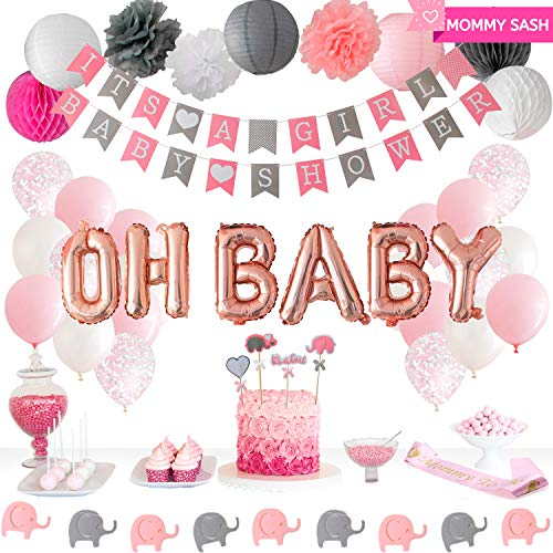 Luxomi Baby Shower Decorations For Girl - Elephant Theme Pink and Grey - Its A Girl Baby Shower Banner - Oh Baby Balloon, Floral Pom Poms, Boho Paper Lanterns, Rustic Honeycombs, Mommy To Be Sash for