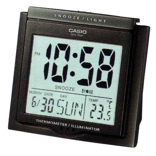 Casio #DQ750F-1DF Multi Function Digital Thermometer Table Top Alarm Clock (Casio Travel Alarm)