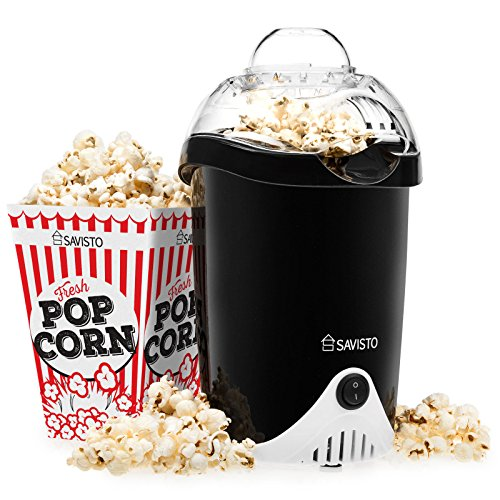 -[ Savisto Hot Air Popcorn Maker with 6 Popcorn Boxes | Electric Popcorn Machine for Healthy, Fat-F