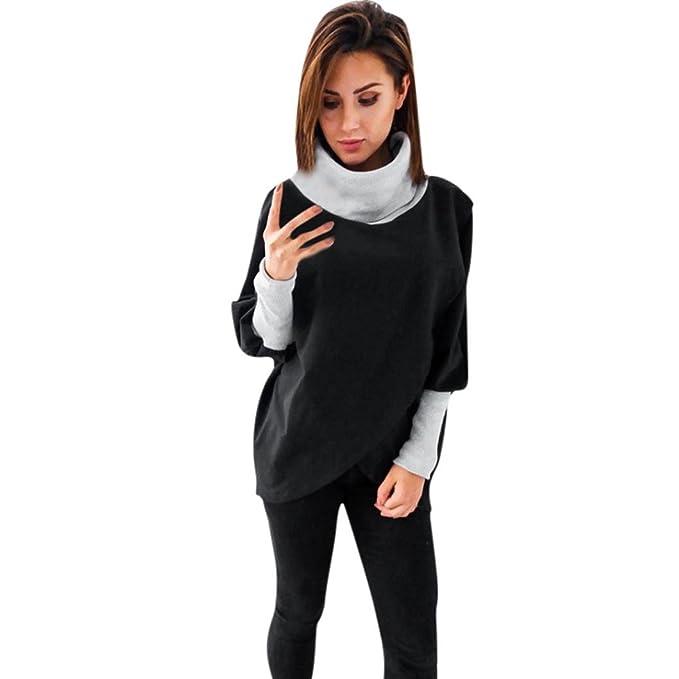 QinMM Sudadera De Cuello Alto De MurciéLago para Mujer, Blusa De Manga Larga con Cuello En Pico SóLido Sweatshirt: Amazon.es: Ropa y accesorios