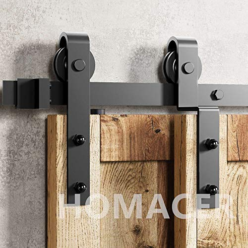 Homacer Sliding Barn Door Hardware Single Track Bypass Double Door Kit, 5.5FT Flat Track Classic Design Roller, Black Rustic Heavy Duty Interior Exterior Use