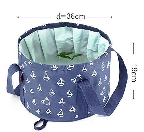 ALXDR Outdoor Water Bucket Collapsible Washbasin For Camping Travel Multifunctional Water Container Freshness Wind Pail PEVA Waterproof, Larger Capacity, 16L,Rosered by ALXDR (Image #2)