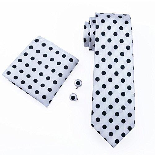 1057 Men's N Tie Cufflinks Polka Set Hanky CAOFENVOO Dots AwxOx0