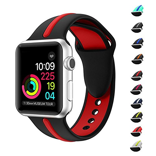 The band for Apple watch band, Wanhua 38mm/42mm Soft Silicone Strap Replacement iWatch Bands for Apple Wristbands Series 3 Series 2 Series 1 Nike+(38mm S/M,Black & Red)