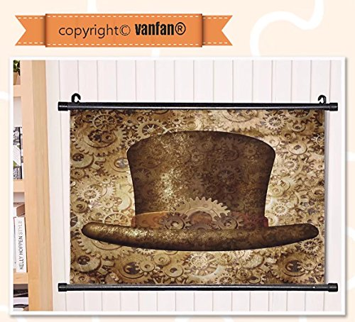 vanfan Wall Scroll Poster- Victorian Decor Collection Steampunk Top Hat Wall Art Waves Paiting on Canvas, Pictures Wall Hanging Canvas Scroll Paintings For Living Room(67