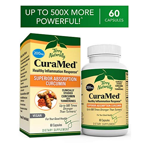 Terry Naturally CuraMed 200 mg - 60 Vegan Softgels - Superior Absorption BCM-95 Curcumin Supplement, Promotes Healthy Inflammation Response - Non-GMO, Gluten-Free, Kosher - 60 Servings (Terry Naturally Curamed 750 Mg 120 Softgels)