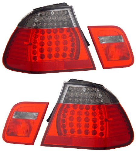 BMW 3 SERIES E46 02-04 4 DR LED TAIL LIGHT RED/SMOKE 4 PCS NEW (E46 Tail Lights)