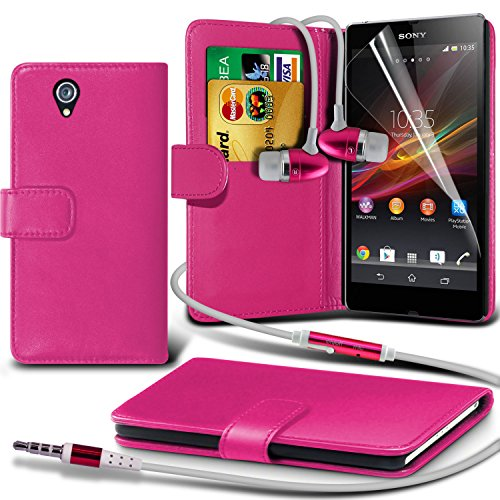Fone-Case ( Hot Pink ) Sony Xperia Z Faux Stylish PU Leather Wallet Credit / Debit Card Flip Case Skin Cover With Screen Protector Guard & Aluminium In Ear Earbud Stereo Hands Free Headphones Earphone Headset with Built in Microphone Mic & On-Off Button