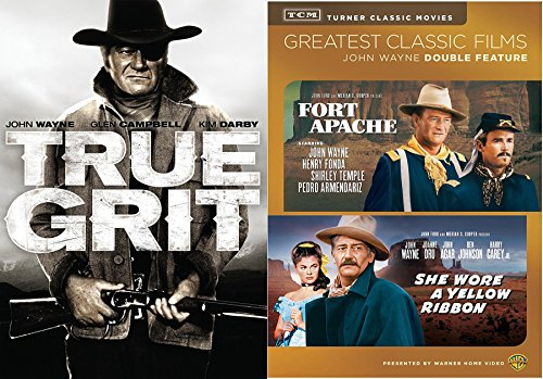 Triple Western John Wayne in True Grit & Fort Apache + She Wore a Yellow Ribbon Triple Feature DVD Western bundle