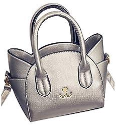 ilishop Cat Satchel Cross Body Shoulder Bag Tote Handbag for Girls (Silver)