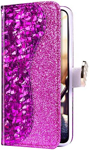 Uposao Kompatibel mit Samsung Galaxy S20 Hülle Leder Handyhülle Glänzend Glitzer Bling Strass Diamant Wallet Hülle Klapphülle Brieftasche Schutzhülle Flip Case Magnet Kartenfach,Lila