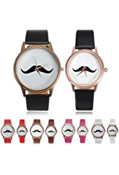 "Fashion Mustache Quartz Wrist Leather Band ""Red"" Small Watch"