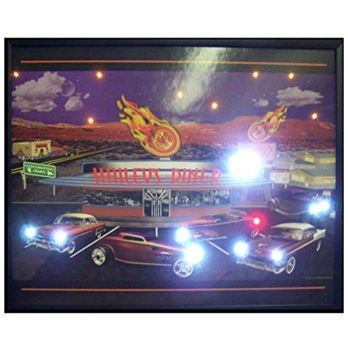 Neonetics Haileys Diner LED Lighted Framed Vintage Advertisement Wall Art