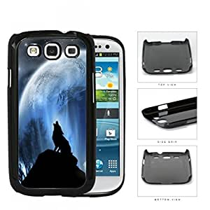 Wolf Howling On Hilltop With Full Moon Hard Plastic Snap On Cell Phone Case Samsung Galaxy S3 SIII I9300
