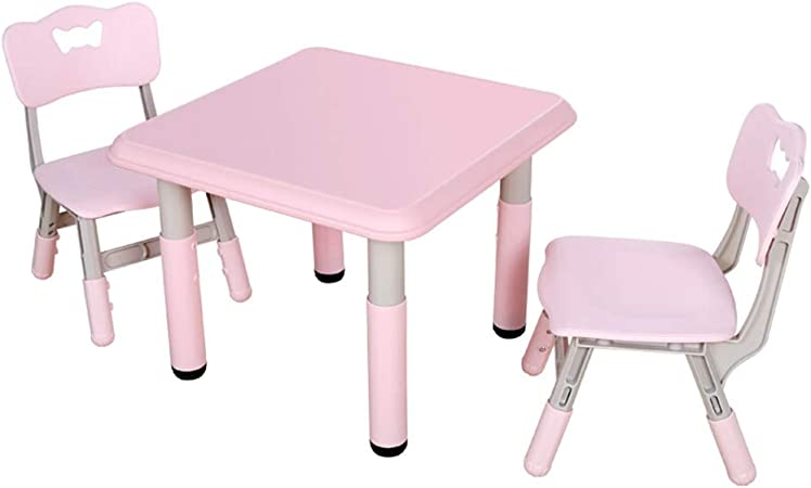 SHLFJQ Altura Ajustable Silla Tabla Niños Set Kinder Antideslizante Escritorio Dibujo Eatting Learnning Juego Mesa de Juego for 2-14 Años de Edad, 1 Mesa y 2 sillas (Color : Pink): Amazon.es: Hogar