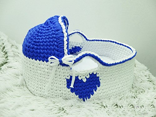 Moses Basket Crochet basket Baby Bassinet Baby boy bed Baby bassinet Couture moses basket Infant Bed Organic bassinet Baby moses by Yunisiya