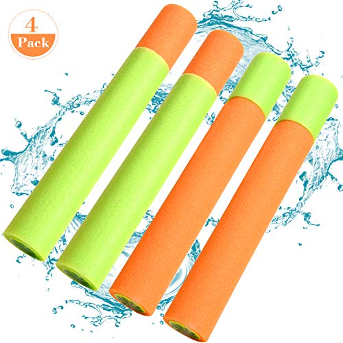 Foam Water Guns Kids Toys - 4 Packs Water Blaster Squirt Guns, Super Soakers Water Shooters, Outdoor Water Squirt Toys Pool Guns, Safe Foam Noodles Pump Water Toys for Kids Adults Water Fighting
