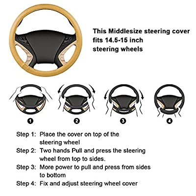 HAOKAY Luxurious Soft Plush Winter Steering Wheel Cover with Universal Size 15 Inches (RED): Automotive