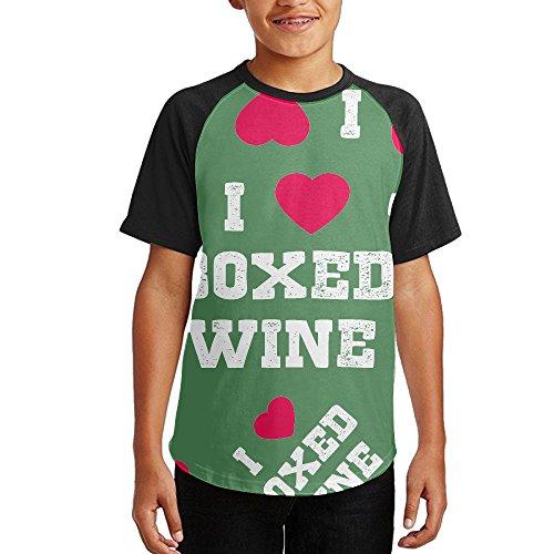 I Love Boxed Wine Youth 3D Print Baseball T-Shirt Short Sleeve Round Neck Raglan (Boxed Wine T-shirt)