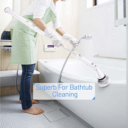 Homitt Electric Spin Scrubber, 360 Cordless Bathroom Scrubber with 4 Replaceable Cleaning Shower Scrubber Brush Heads, 1 Extension Arm and Adapter for Tub, Tile, Floor, Wall and Kitchen by Homitt (Image #8)