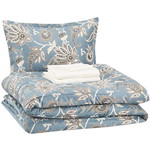 AmazonBasics 6-Piece Comforter Bedding Set, Twin / Twin XL, Sea Foam Jacobean, Microfiber, Ultra-Soft