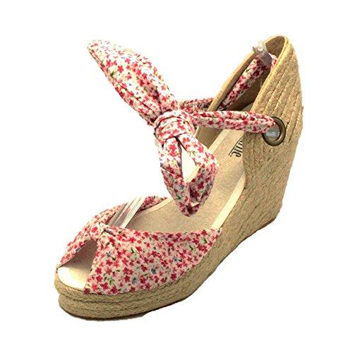 SendIt4me Womens Medium Keil Ferse Canvas Sandalen/Schuhe mit Krawatte Befestigung Red Floral