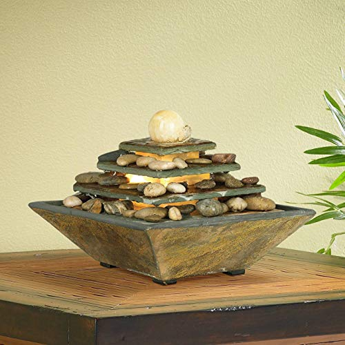 Natural Slate Water Fountain - John Timberland Four Tiers Feng Shui Zen Indoor Table-Top Water Fountain with Light LED 9