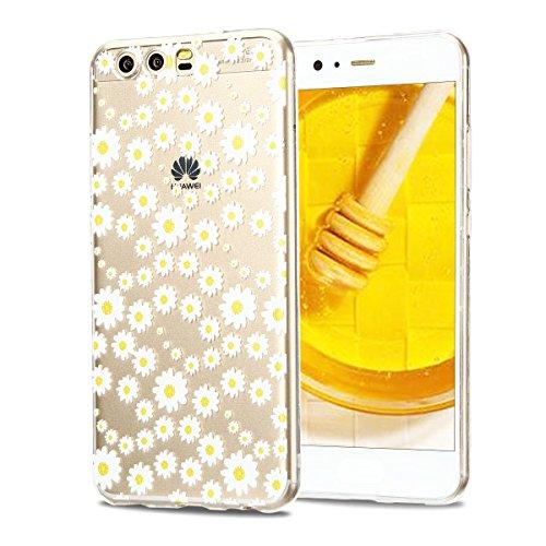 Funda Huawei P10, CaseLover Carcasa Transparente Suave Silicona TPU para Huawei P10 (5.1 Pulgadas) Ultra Delgado Flexible Gel Protectora Cubierta Resistente a los Arañazos Tapa Ligero Caja Anti-Rasguñ Crisantemo