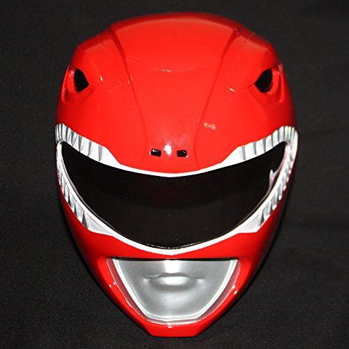 1:1 Scale Halloween Costume Cosplay Mighty Morphin Power Ranger Helmet Mask Red PR02 (Power Rangers Helmet)