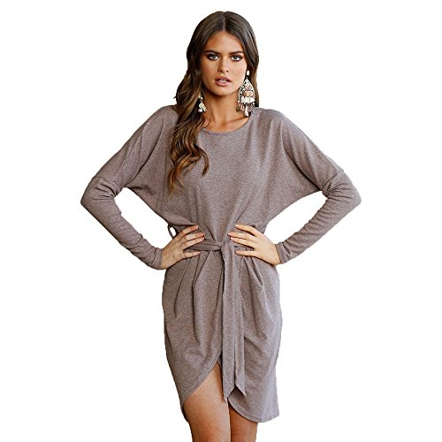VENAS Womens Casual V Neck High-Low Hem 3/4 Batwing Sleeve Elegant Shirt Dress with Belt (XL, Light Brown) Belted V-neck Tunic