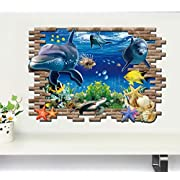 KitMax (TM) Removable Personalized 3D Underwater World Nursery Bathroom Kitchen Bedroom Dining Living Room Mirror Office Dorm Home DIY Modern Art Wall Decor Stickers
