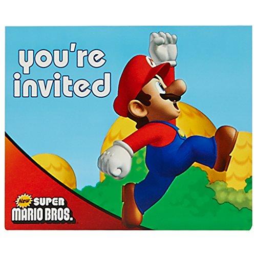 Super Mario Bros Party Supplies - Invitations (8) ()