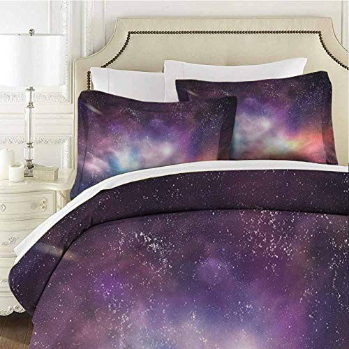 Galaxy Comforter Bedding Set Cosmos Universe Space Twin (68x90 inches) - 3 Pieces (1 Duvet Cover + 2 Pillow Shams) - with Zipper Closure Ultra