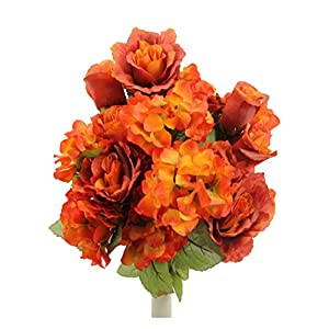 Admired By Nature 18 Stems Artificial Full Blooming Rose & Hydrangea with Greenery for Home, Wedding, Restaurant & Office Decoration Arrangement, Persimmon 36