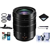 Panasonic Lumix G Leica DG Vario-Elmarit 12-60mm F/2.8-4.0 Aspherical Lens for Micro 4/3 Mount, Black - Bundle with 62mm Filter Kit, Lens Wrap, Cleaning Kit, Capleash, Lenspen Cleaner, Software Pack