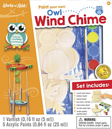 MasterPieces Works of Ahhh Real Wood Large Acrylic Paint & Craft Kit, Wind Chime with Owl, Mom's Choice Award, for Ages -