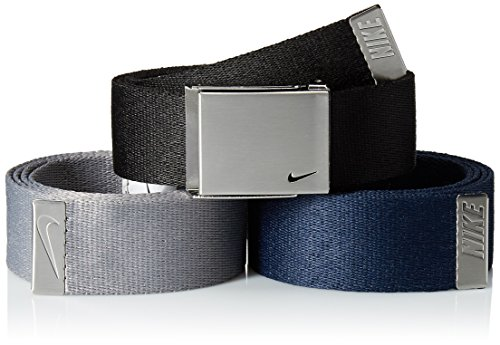 Nike Men's 3 Pack Web Belt, black/Grey/Navy, One Size