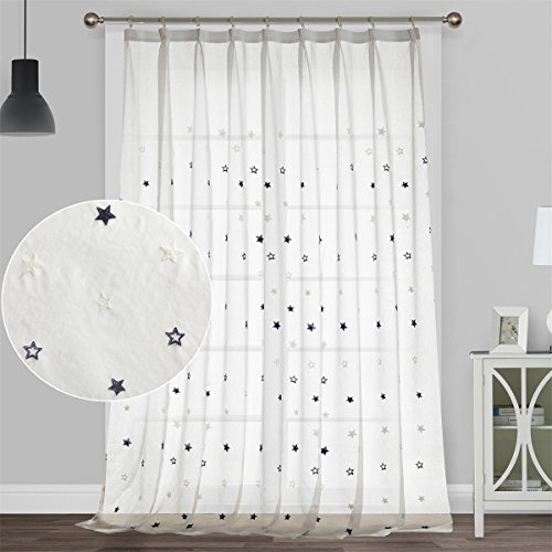 Dreaming Casa Sheer Curtains White For Kids, Living Room, Bedroom, Nursery 96 Inches Long Semi Voile Drapes Double Pinch Pleated Window Panels Starry 1 Set (White, 52