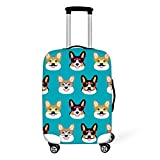 Spandex/Polyester Luggage Cover Cute Corgi Glasses And Mustaches Suitcases Cover Protector Anti-Scratch Dustproof for 18/20/22/24/26/28 Inch