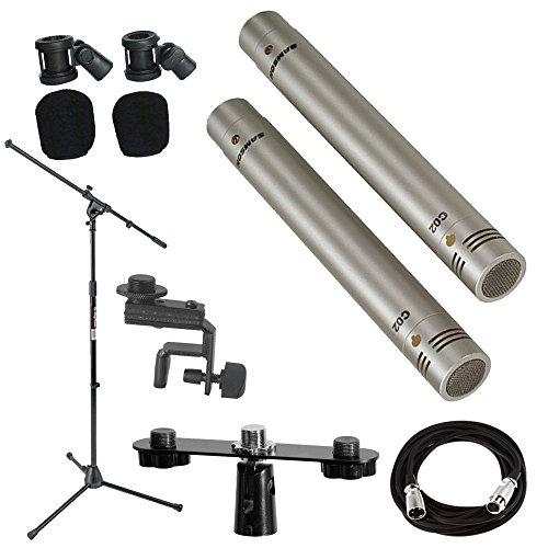 Samson C02 Pencil Condenser Microphones + Mic Stand + Mic Clip + Mic Cable + Mic Attachment Bar - Top Value Accessory Bundle ()
