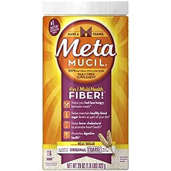 Metamucil Daily Fiber Supplement, Original Coarse Sugar Psyllium Husk Fiber Powder, 114 Doses