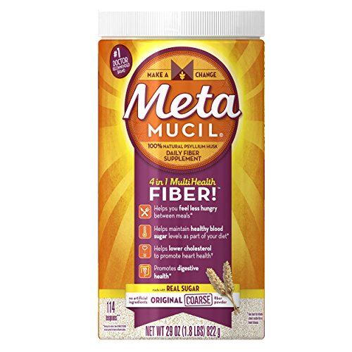 Metamucil Daily Fiber Supplement, Original Coarse Sugar Psyllium Husk Fiber Powder, 114 Doses - Metamucil Multihealth Fiber