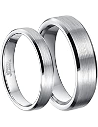 4mm 6mm Tungsten Carbide Ring for Men Women Comfort Fit Beveled Edge Brushed Silver Wedding Band
