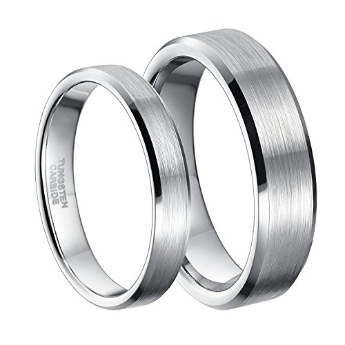 6mm Silver Tungsten Carbide Ring for Men Women Beveled Edge Unisex Brushed Wedding Band Size 8.5 by Greenpod