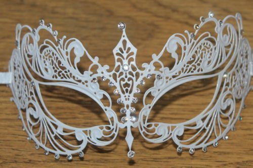 LUXURY LADIES BEAUTIFUL DELICATE INTRICATE ORNATE Weiß METAL VENETIAN MASQUERADE CARNIVAL PARTY EYE MASK by Life Is Good