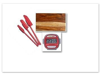 AcuRite Digital temporizador rojo Bundle con Martha Stewart Sheesham madera tabla de cortar & Rachael Ray