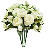 Schliersee Artificial Flowers Peony Silk Fake Flower Bouquet for Home Wedding Decoration Cream Color, 4pcs