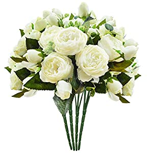 Artificial Flower Fake Silk Peony Flowers Wedding Bouquet Bridesmaid Bridal Party Centerpieces Decoration, Ivory, 4 Pack 47