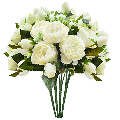 (Schliersee Artificial Flowers Peony Silk Fake Flower Bouquet for Home Wedding Decoration Cream Color, 4pcs)